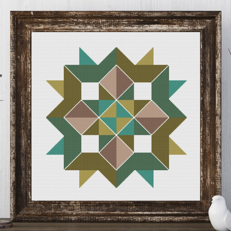 Ginny Star Barn Quilt Square Traditional Cross Stitch Pattern image 0