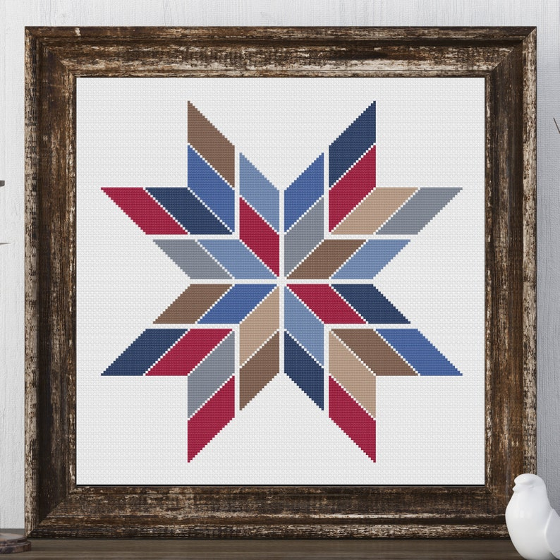 Bertie Star Barn Quilt Square Traditional Cross Stitch Pattern image 0