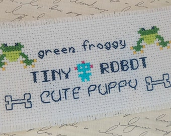 Tiny Alphabet Three Font Cross Stitch Small Letters Pattern PDF Instant Download Frog Toad Robot Dog Puppy Mini Text Word Border Icons