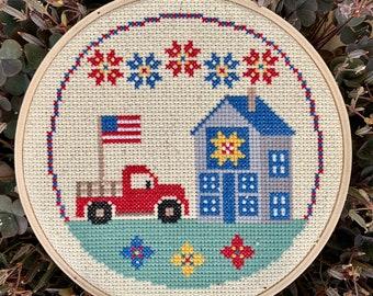 Little America 4th of July Patriotic Cross Stitch Pattern DIY Modern Americana Barn Quilt Easy Red White Blue Beginner Needlepoint Farmhouse