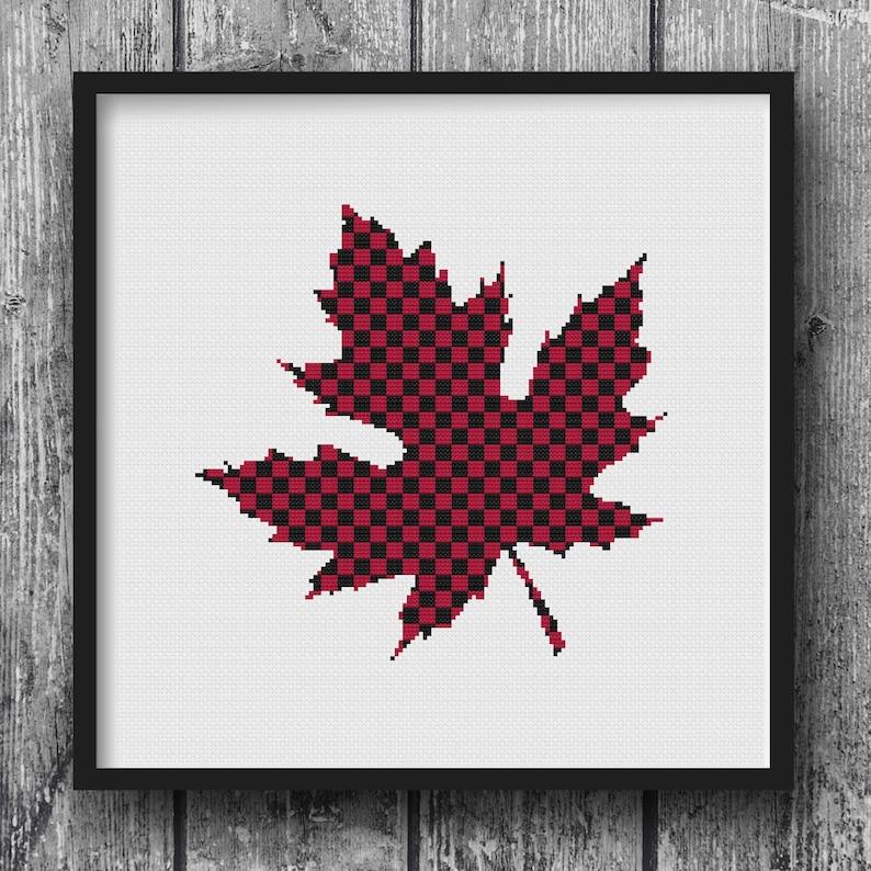 Lumberjack Flannel Maple Leaf Woodland Cross Stitch Pattern image 0