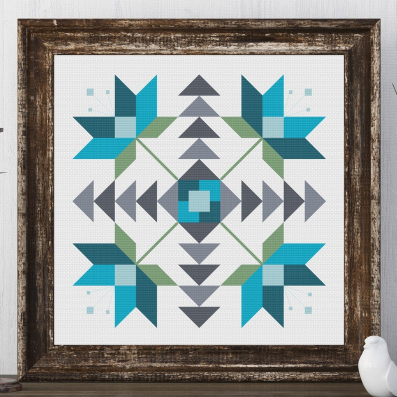 image regarding Printable Barn Quilt Patterns identified as Lulu Flower Barn Quilt Sq. Conventional Cross Sch Behavior Needlepoint Embroidery Nation Farmhouse Print Blue Gray Artwork Decor Farm Residence