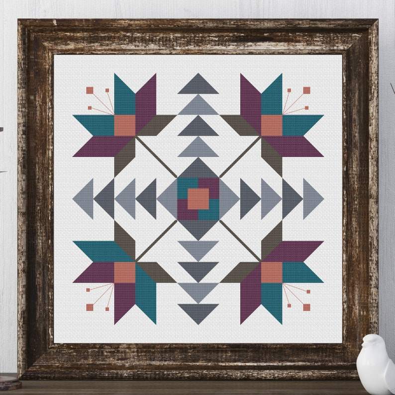 Kelly Flower Barn Quilt Square Traditional Cross Stitch image 0