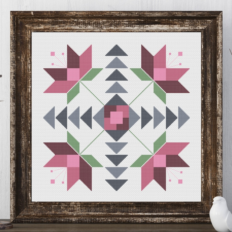 Ione Flower Barn Quilt Square Traditional Cross Stitch Pattern image 0