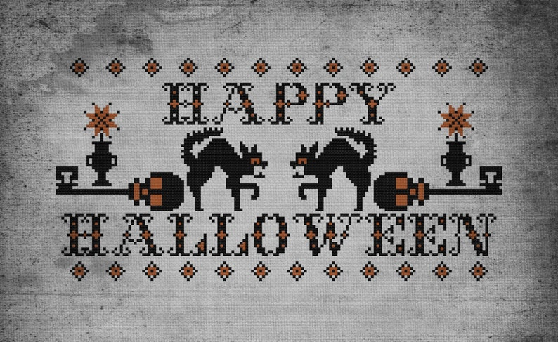 Halloween Black Cat Skeleton Key Traditional Cross Stitch image 0