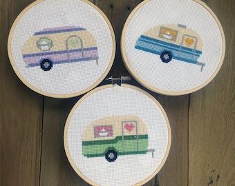 Retro Camper Set Cross Stitch Pattern Needlepoint Embroidery Beginner Easy Vintage RV Antique Adventure Baby Nursery  Modern Kids Hipster