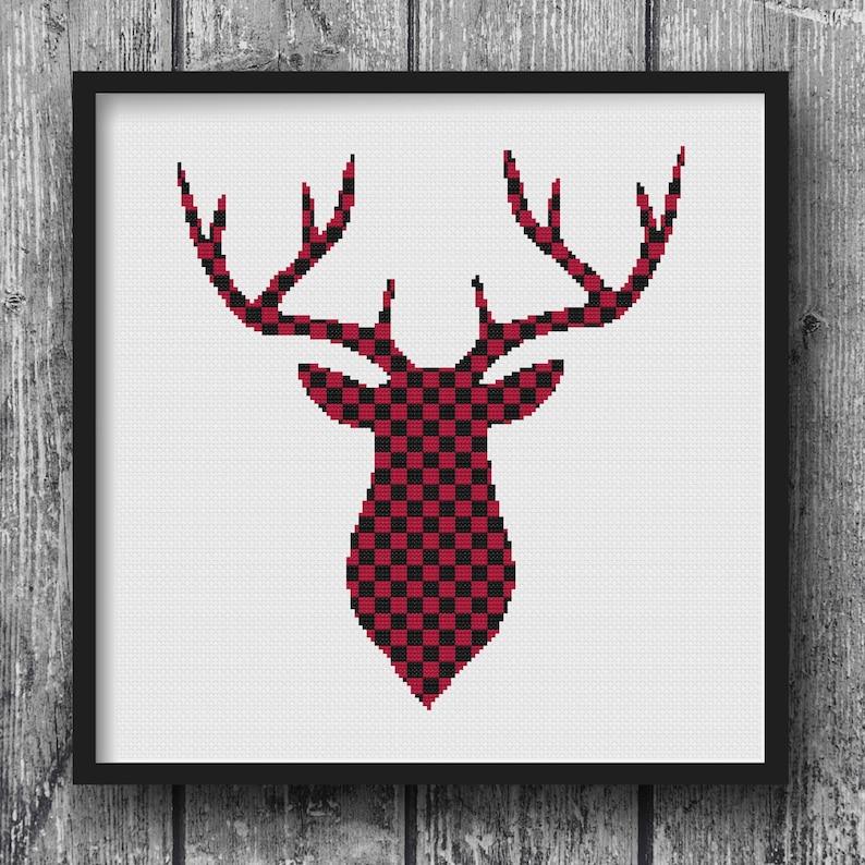 Lumberjack Flannel Deer Woodland Cross Stitch Pattern image 0
