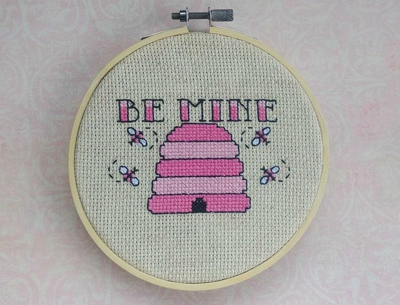 Be Mine Valentine Beehive Cross Stitch EmbroideryPattern image 0