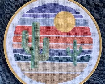 Little Desert Sunset Cross Stitch Pattern DIY Modern Cactus Succulent Easy Beginner Needlepoint Sun Summer Earth Tone Nature Plant Nature