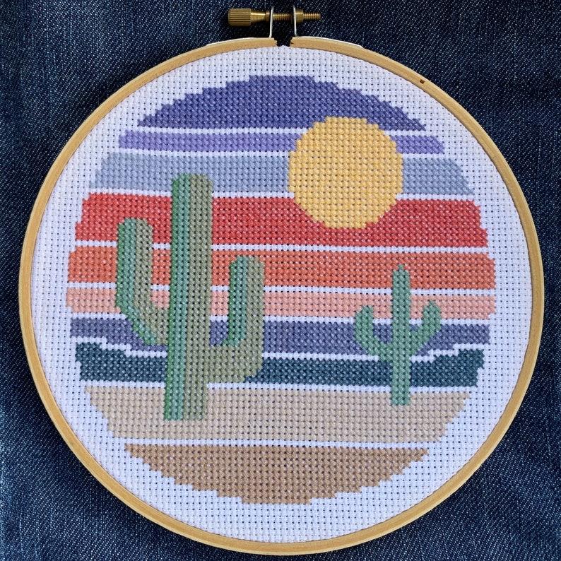 Little Desert Sunset Cross Stitch Pattern DIY Modern Cactus image 0
