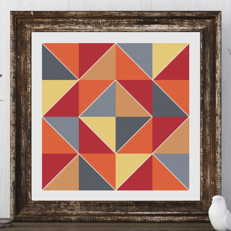 Nikki Block Barn Quilt Square Traditional Cross Stitch Pattern image 0