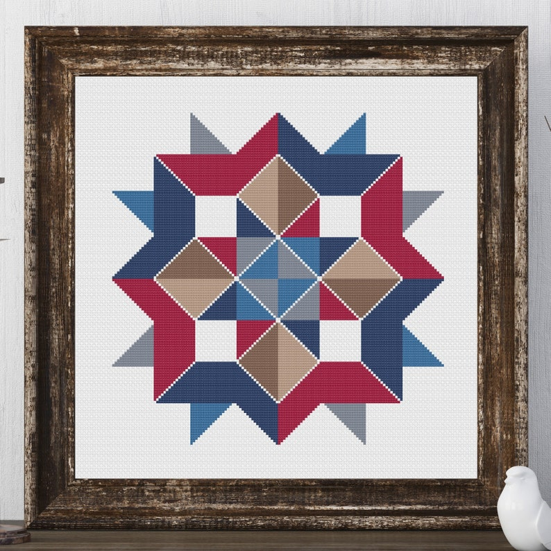 image about Printable Barn Quilt Patterns referred to as Ellie Star Barn Quilt Sq. Standard Cross Sch Behavior Needlepoint Embroidery Region Farmhouse Print Americana Decor Farm Residence Present