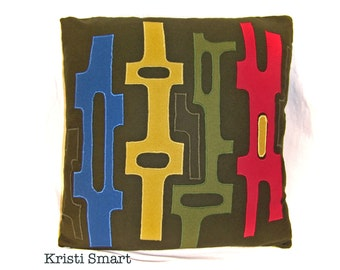 Mid Century pillow with appliqued abstract art