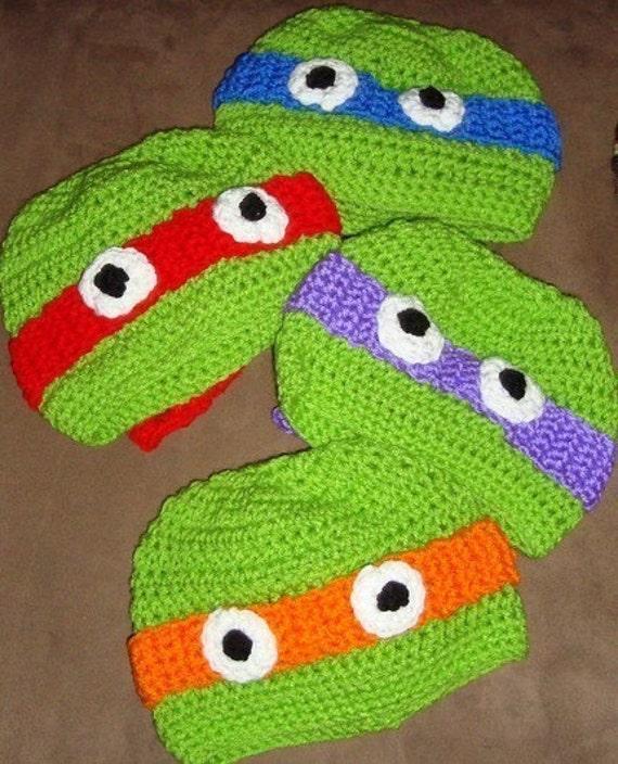 Crochet Teenage Mutant Ninja Turtle Hat Custom 6-12m 18-24m