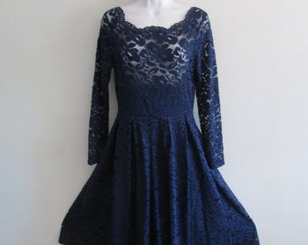 VINTAGE dark blue lace dress  size medium ,no label