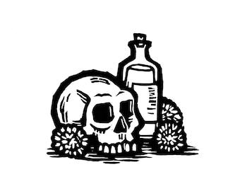 """Hand-pulled Linocut - """"Skull & Bottle"""""""
