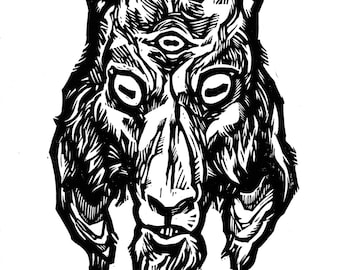 "Hand-pulled Linocut - ""Three Eyes"""