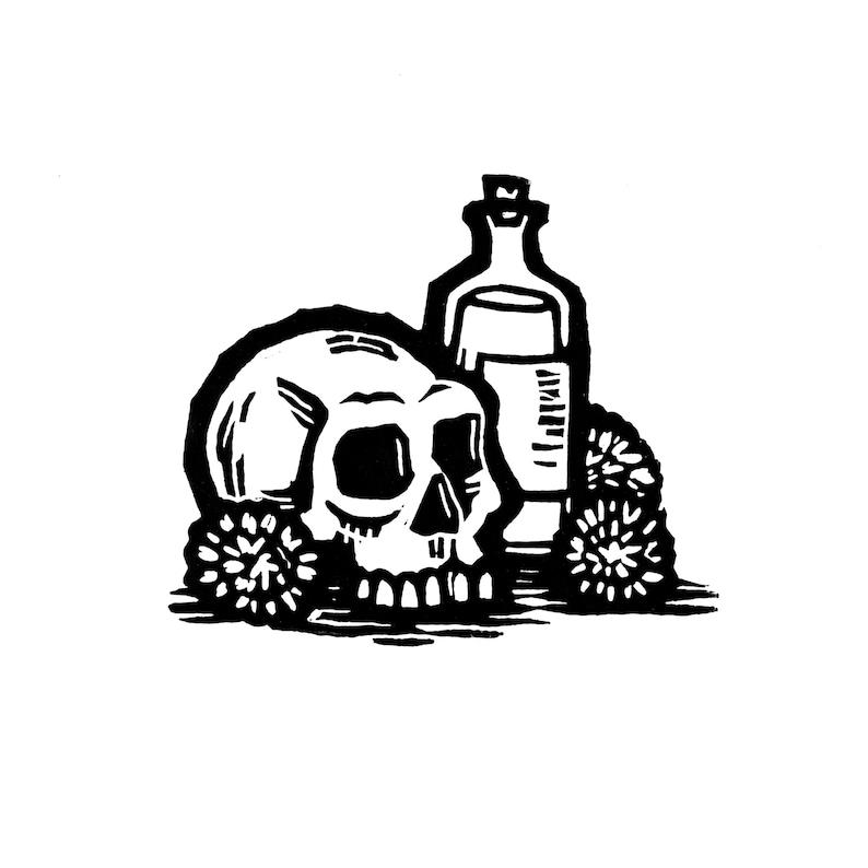 Hand-pulled Linocut  Skull & Bottle image 0