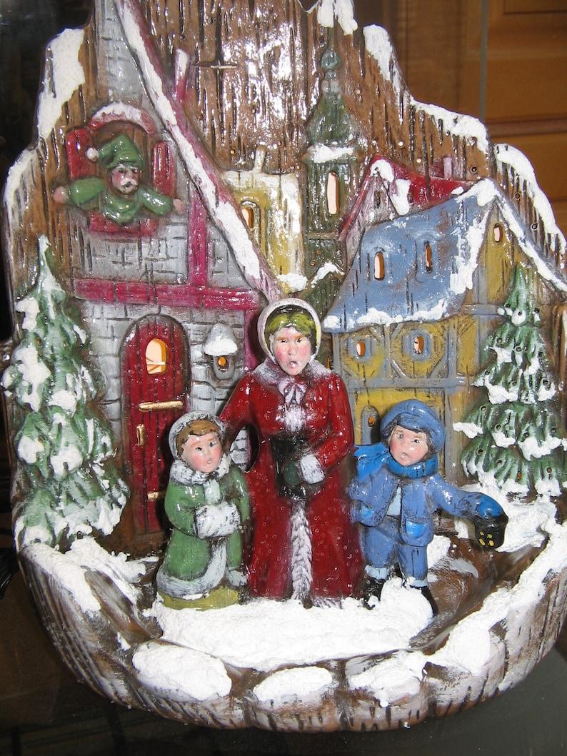 Holiday Lighted Ceramic Christmas Village Scene Carolers ...