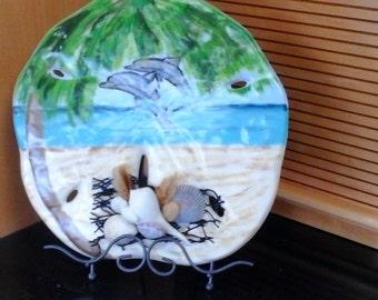 Delfín Playa escena Sand Dollar yeso pintados a mano artesanales mar conchas esponjas malla