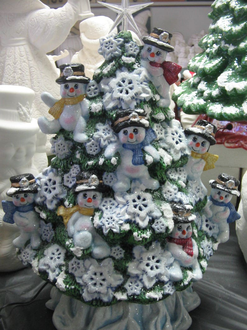 Ceramic Hand Painted Snowman Christmas Tree Lighted Tree Snowmen Handcrafted Holiday Tree