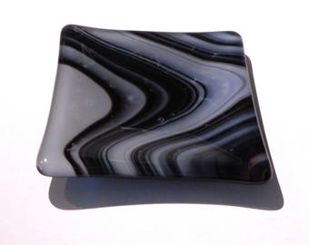 Small Square Glass Dish, Black and White Swirled Fused Glass, Handmade Home and Living, Home Décor, 4 inch by 4 inch Dish