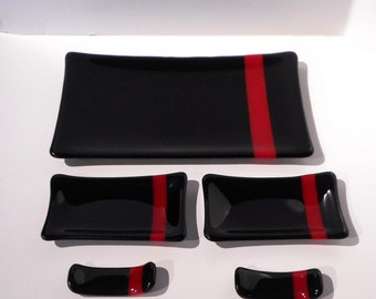 Glass Sushi Set, Black and Red Fused Glass, Serving Set, Handmade Home and Living, Handmade Gift