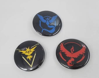 Pokemon GO Team Valor, Instinct, or Mystic 1.5 inch Button Sun and Moon
