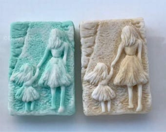 Mother Daughter Walking Hand in Hand Silicone Soap Mold Mothers Day Love Wedding Shower Handmade DIY Craft Molds High Quality USA Mom