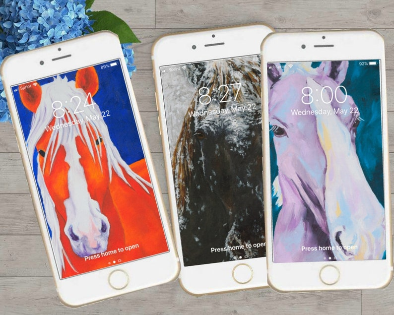 Horses Art Iphone Personalized Wallpaper Background Cell Phone Etsy