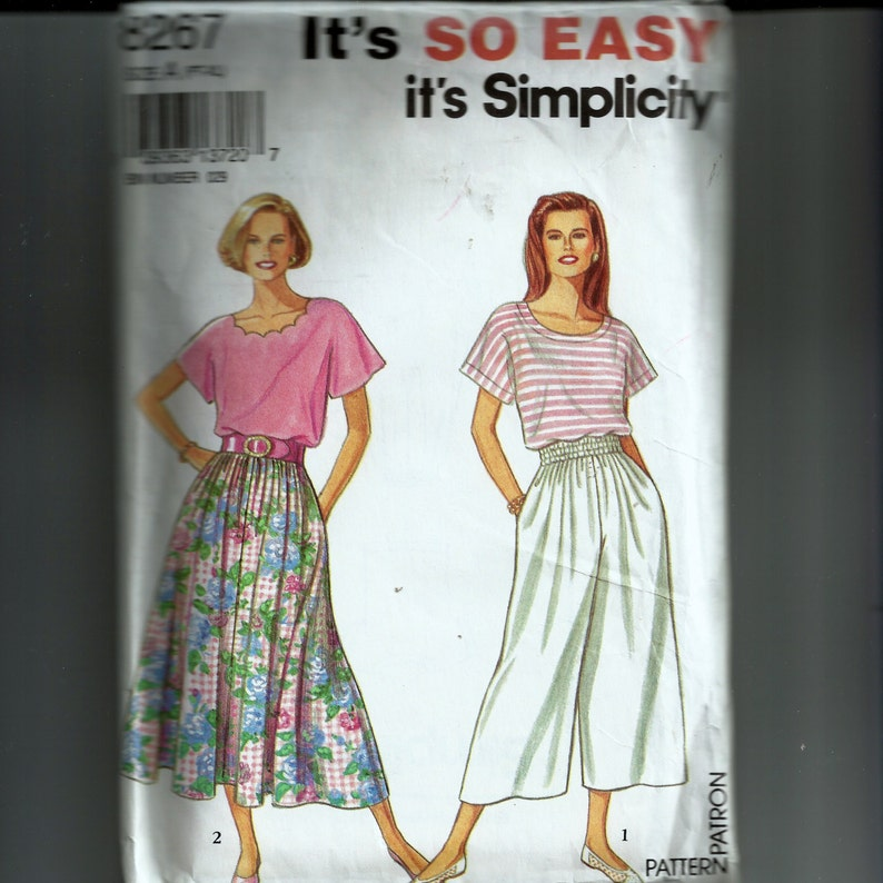 86c08320f5 Simplicity Misses  Skirt Split Skirt and Top Pattern 8267