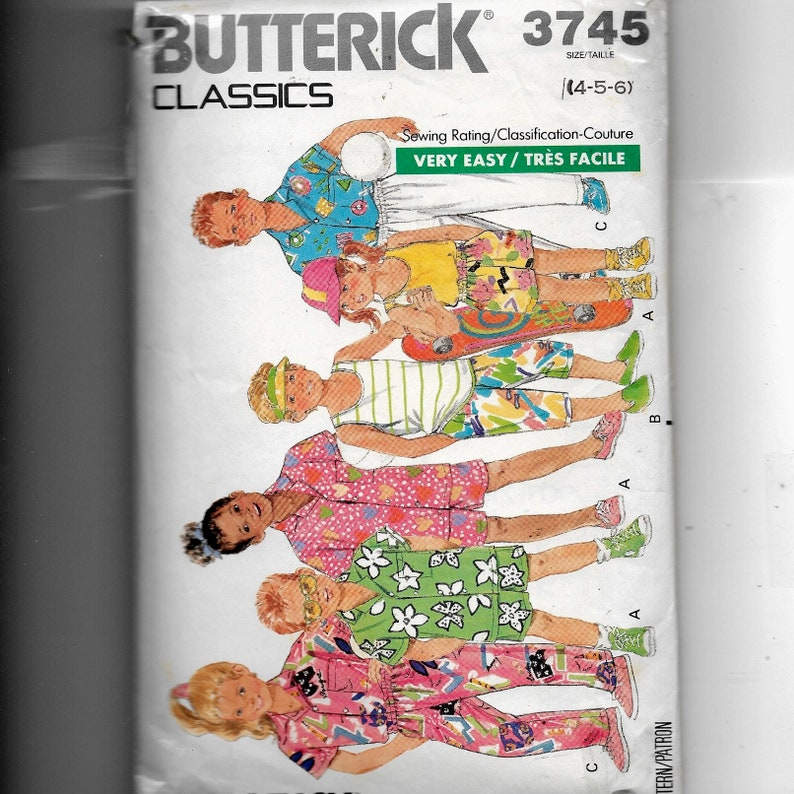 Butterick Toddlers Children S Shirt Tank Top Shorts And Pants Pattern 3745