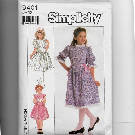 Patrón de vestido simplicidad infantil 9401 | Etsy