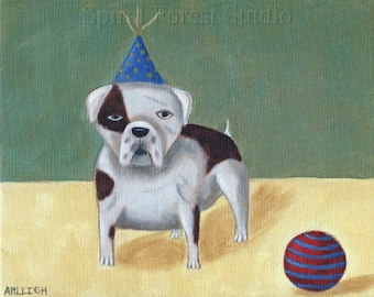Fun English Bulldog Art Print, Dog Joins the Circus, Whimsical Artwork, Dog Folk Art, Spotted Dog with Ball, Happy Home Decor, Kids Room