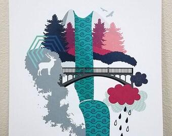 Multnomah Falls 8.5x11 Print - Oregon - Wall Art -Digital Illustration