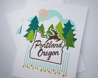 Hello, Portland! Series Notecards - the White Stag Sign - The Portland Oregon Sign