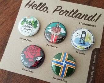 Hello, Portland! One Inch Super Strong Magnets - Set of Five - Magnet Pack