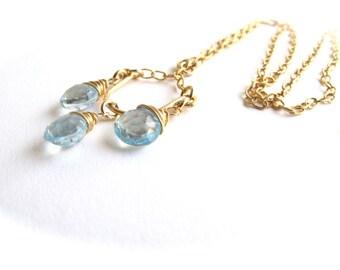 Blue Topaz Gold Chandelier Necklace, 14 karat gold filled wire, Floweredsky Designs
