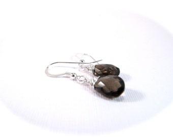 Smokey Quartz Sterling Silver Gemstone Drop Earrings