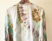 Hand Dyed Kimono Robe in Tropics, Aqua and Sand,  Tie Dyed Rayon Bathrobe, Anna Joyce, Portland, OR.