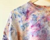 Hand Dyed Cotton Crew Neck Sweatshirt in Amethyst, Anna Joyce, Portland, OR. Tie Dye,