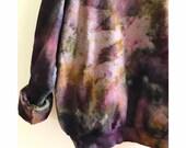 Hand Dyed Cotton Crew Neck Sweatshirt in Smokey Topaz, Anna Joyce, Portland, OR. Tie Dye, Blue