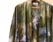 Hand Dyed Kimono Robe, in Forest Floor, Tie Dyed Rayon Bathrobe, Anna Joyce, Portland, OR