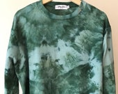 Hand Dyed Cotton Crew Neck Sweatshirt in Forest Floor, Anna Joyce, Portland, OR. Tie Dye