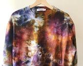 Hand Dyed Cotton Crew Neck Sweatshirt in Tiger's Eye, Anna Joyce, Portland, OR. Tie Dye