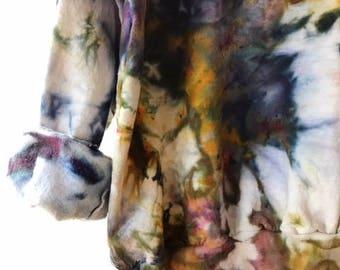 Hand Dyed Cotton Crew Neck Sweatshirt in Galaxy, Anna Joyce, Portland, OR. Tie Dye,