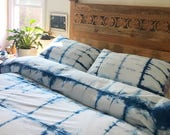 Hand Dyed Indigo Bedding in Beach Glass, Shibori Bedding, Duvet Cover and Two Pillow Cases, Anna Joyce, Portland, OR