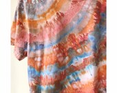 Hand Dyed Cotton Crew Neck T-Shirt in Sand and Sky,  Anna Joyce, Portland, OR. Tie Dye