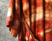 Hand Dyed Kimono Robe in Paprika, Tie Dyed Rayon Bathrobe, Cover Up, Duster,  Anna Joyce, Portland, OR.