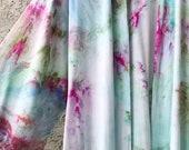 Water Lilies Hand Dyed Kimono Robe, Tie Dyed Rayon Bathrobe, Anna Joyce, Portland, OR, Aqua, Mint, Pink